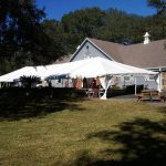 party tent in backyard